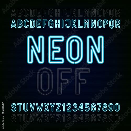 Blue Neon Light Alphabet Font  Two different styles  Lights