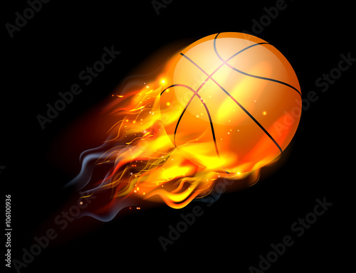 Basketball Ball on Fire Canvas Print