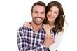 Leinwandbild Motiv Portrait of young couple smiling
