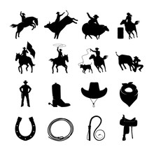 Rodeo Black Icons Set