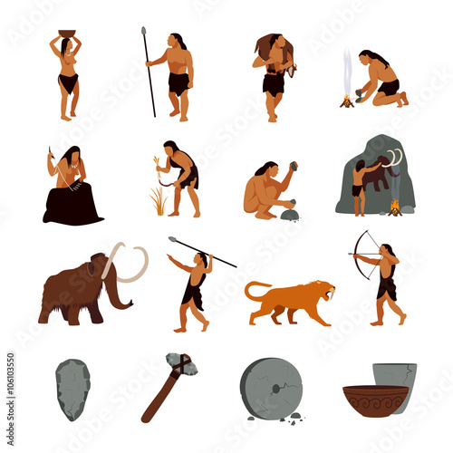Photo  Prehistoric Stone Age Caveman Icons