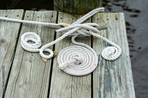 Coiled boat ropes