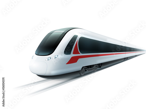 High-Speed Train Realistic Isolated Image