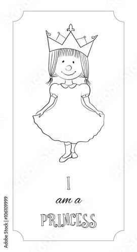 Fotografie, Tablou  Kid cartoon princess outline card for coloring
