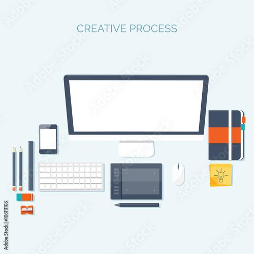 Vector Illustration Flat Header Workplace Programming Coding Web Design Laptop Pc Buy This Stock Vector And Explore Similar Vectors At Adobe Stock Adobe Stock