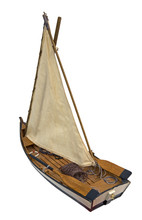 Wooden Sailboat Isolated On Wh...