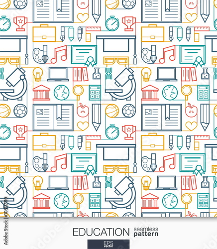 Education Wallpaper School And University Connected Seamless Pattern Tiling Textures With Thin Line Integrated Web Icons Set Vector Illustration Abstract Elearning Background For Mobile App Buy This Stock Vector And Explore