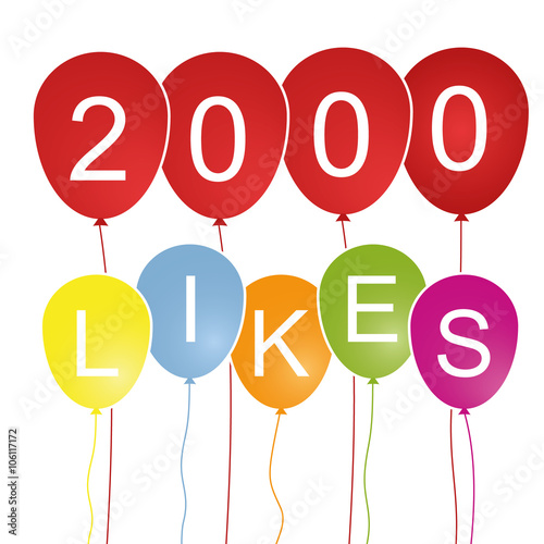 Poster  2000 Likes - Luftballons