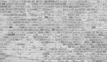 White Dirty Stained Old Brick Wall Background.