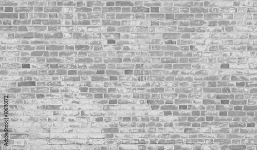 Poster Brick wall White dirty stained old brick wall background.