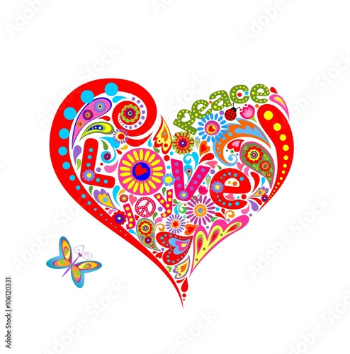 Hippie heart shape with funny colorful flowers - 106120331
