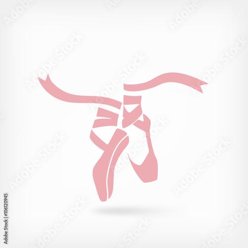pink ballet pointes. dance studio symbol плакат
