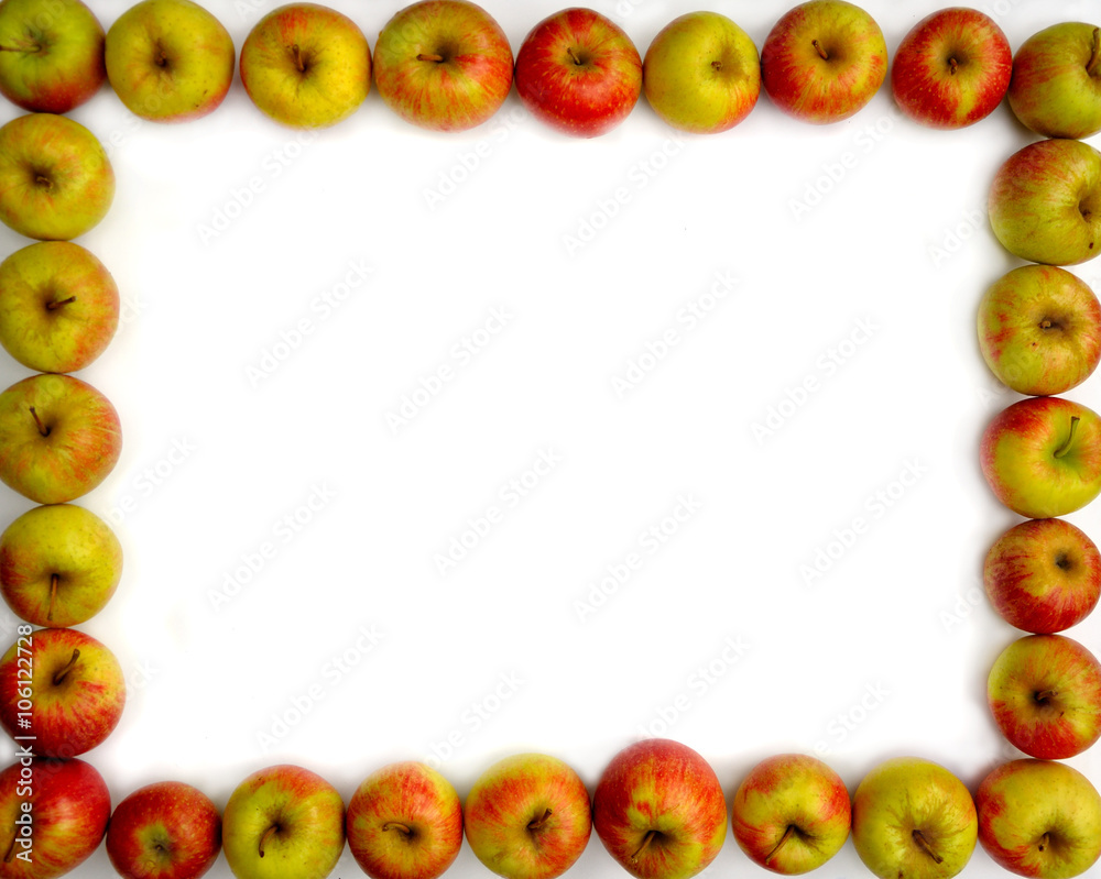Fototapeta Jabłka na białym tle - ramka