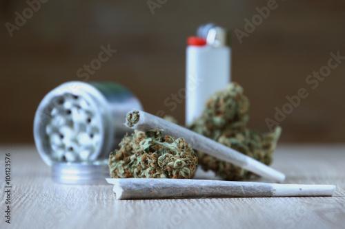 Fényképezés Ganja Buds With Joints, Lighter And Grinder