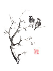 Naklejka Tow birds on tree original sumi-e ink painting.
