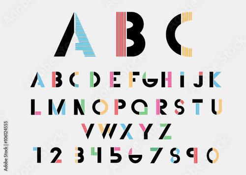 Fotografía  Black alphabetic fonts  with color lines. Vector illustration.