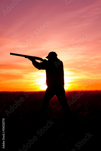 Poster Chasse Hunter in Sunset