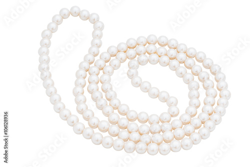 Pearls on the white background