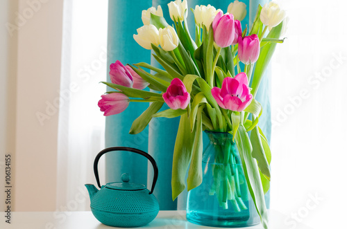 Bouquet Of Beautiful Pink And Yellow Tulips In Tiffany Vase Cup