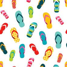 Flip Flop Color Summer Pattern. Seamless Repeat Pattern, Background. Cartoon Flat Illustration.