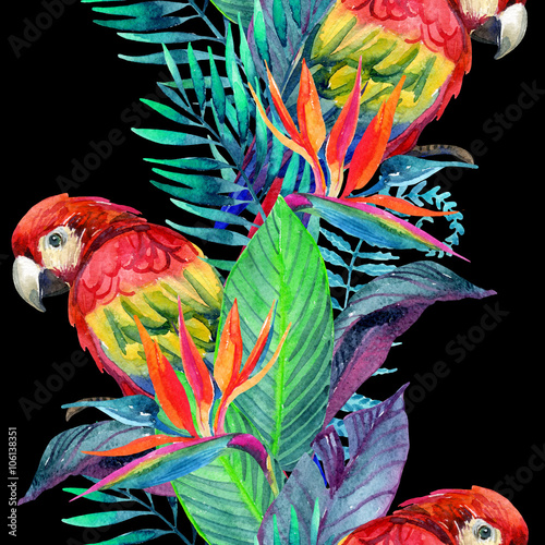 Cotton fabric watercolor parrots with tropical flowers seamless pattern