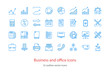 Set of vector outline business and office icons. Blue color.