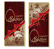 Holiday Background For Easter With Red Ribbon, Bow, A Basket With Easter Eggs, Silhouette Of An Angel And The Church. Gift Card. Happy Easter. Easter Greeting Card. Vector Flyer Template For Easter