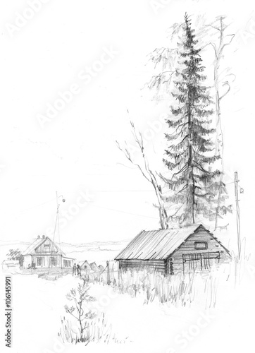From Russia With Love Russian Village Pencil Drawing Stock Illustration Adobe Stock This video shows how to draw village landscape with pencil | pencil art with pencil sketch and shading with littile details.i used one pencil and own. russian village pencil drawing
