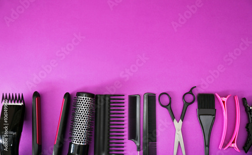 Hairdresser set with various accessories on violet background - 106149960