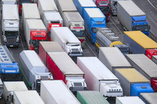 Stockholm, Sweden - March, 16, 2016: Trucks On A Parking In Stockholm, Sweden
