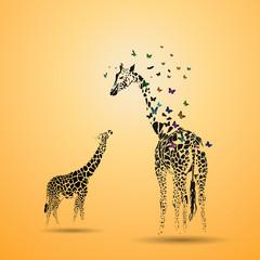Panel Szklany Żyrafa Giraffe with her baby