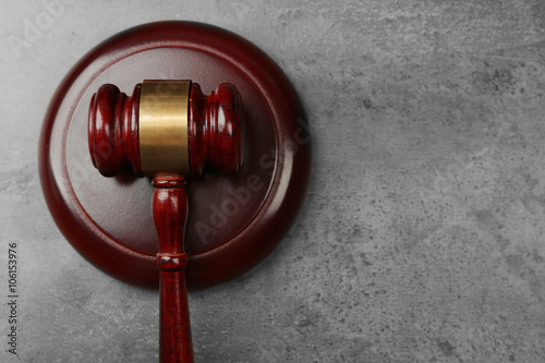 Fotografie, Obraz  Law gavel on grey background, copy space