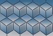 Textur aus Würfeln in Blau