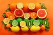 Set of different citrus fruit on orange background