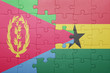 canvas print picture - puzzle with the national flag of ghana and eritrea
