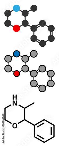 Fotografie, Obraz  Phenmetrazine stimulant drug molecule (amphetamine class).