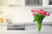 Fresh Bouquet Of Tulips On A K...