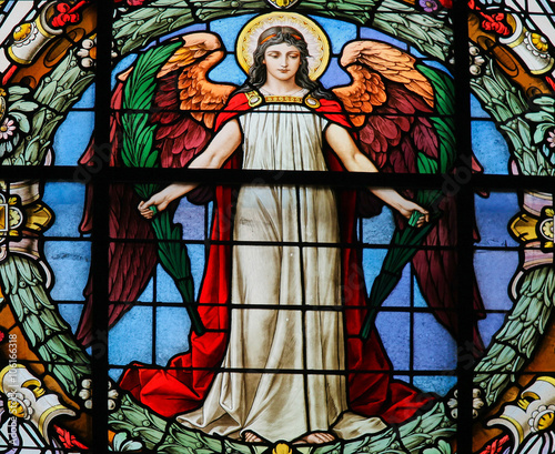 Fotografie, Obraz  Stained Glass of an Angel