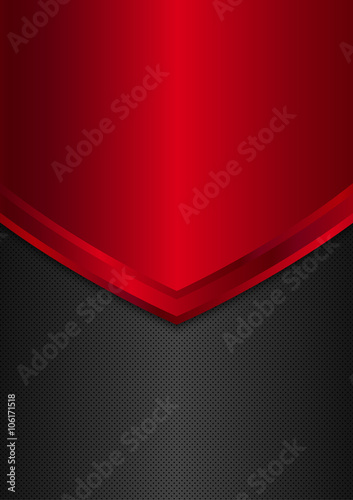 Black and red metal background. Brochure Flyer design A4 size. Vector illustration