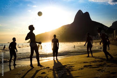 Locals Playing Soccer at Ipanema Beach, Rio de Janeiro, Brazil