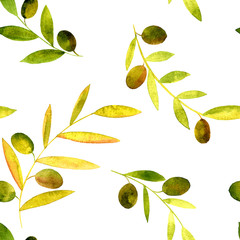Fototapetavector watercolor seamless pattern with olives, leaves and branches