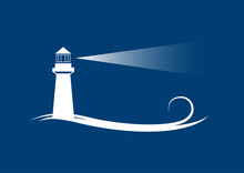 Vector Banner Lighthouse In Bl...