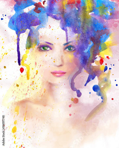 c68465d632 Spring woman. Abstract portrait beautiful watercolor