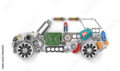 Photo Auto parts in form of car . To use in the advertising of spare p