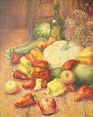 Fototapeta Do winiarni Still life with vegetables and fruit. Apple, pepper, wine, watermelon, zucchini. Oil painting