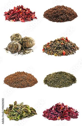 Assortment of dry tea, isolated on white Canvas-taulu