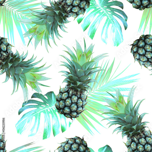 Fototapeta Pineapples and tropical leaves background Vintage Seamless Pattern