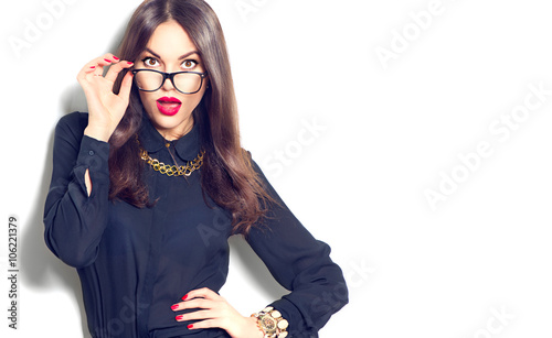 8b145b59e Beauty sexy fashion model girl wearing glasses, isolated on white background