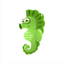 Green Seahorse Icon
