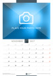 November 2017. Wall Monthly Calendar for 2017 Year. Vector Design Print Template with Place for Photo. Week Starts Monday. Portrait Orientation